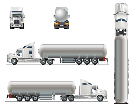 Vector realistic tunker truck template isolated on white. Available EPS-10 separated by groups and layers with transparency effects Stock Illustratie