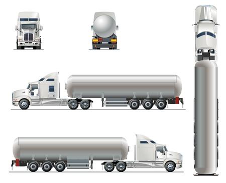 Vector realistische tunker vrachtwagen sjabloon geïsoleerd op wit. Beschikbare EPS-10 gescheiden door groepen en lagen met transparantie-effecten