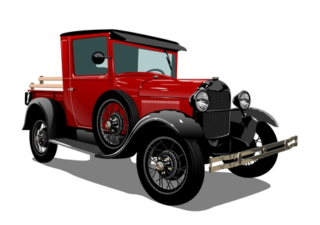 Vector retro truck. Available eps-10 vector format separated by groups with transparency effects for one-click repaint