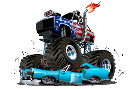 Vector Cartoon Monster Truck. Available EPS-10 separated by groups and layers with transparency effects for one-click repaint Vettoriali