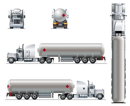 Vector realistic tunker truck template isolated on white. Available EPS-10 separated by groups and layers