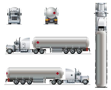 Vector realistische tunker vrachtwagen sjabloon geïsoleerd op wit. Beschikbare EPS-10 gescheiden door groepen en lagen Stockfoto - 95143894