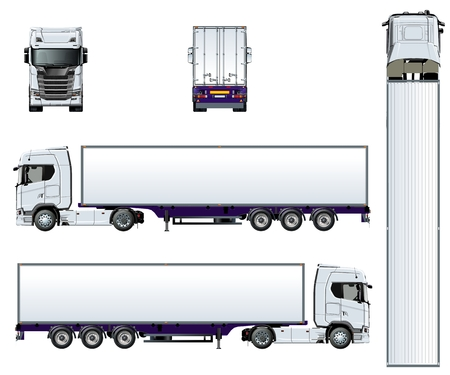Szablon wektor ciężarówka na białym tle. Dostępny EPS-10 oddzielony grupami i warstwami z efektami przezroczystości do ponownego malowania jednym kliknięciem