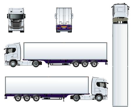 Vector vrachtwagen sjabloon geïsoleerd op wit. Beschikbare EPS-10 gescheiden door groepen en lagen met transparantie-effecten voor opnieuw schilderen met één klik