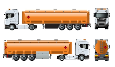 Vector realistic tunker truck template isolated on white. Available EPS-10 separated by groups and layers with transparency effects Ilustração
