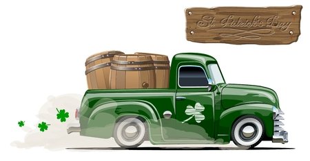 Retro vector cartoon pick-up truck with beer barrels for Happy Saint Patricks day, Irish celebration design. Beer festival lettering on wood board, separated by groups and layers.