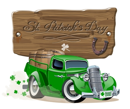 Vector retro cartoon pick-up truck with beer barrels for Happy Saint Patricks Day Irish celebration design. Beer festival lettering on wood board. Separated by groups and layers. Illustration