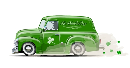 Retro cartoon van with Beer festival lettering for Happy Saint Patricks Day. Irish celebration design.