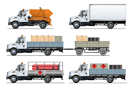 Spec trucks set template isolated on white background, separated by groups and layers with transparency effects.