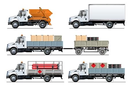 Vector spec vrachtwagens instellen sjabloon geïsoleerd op wit. Beschikbare EPS-10 gescheiden door groepen en lagen met transparantie-effecten