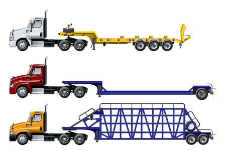 Vector semi trucks set isolated on white. Available EPS-10 separated by groups and layers with transparency effects  イラスト・ベクター素材
