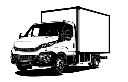 Truck vector outline template isolated on white background. Available separated by groups and layers for easy edit.