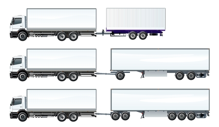 Vector road trains set template isolated on white. Available EPS-10 separated by groups and layers