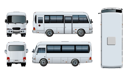 Vector realistic urban passenger mini-bus mock-up for brand identity, isolated on white. EPS-10 separated by groups and layers with transparency effects for one-click repaint and easy edit. Ilustração