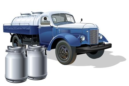 Vector retro delivery milk tanker truck. Ilustração