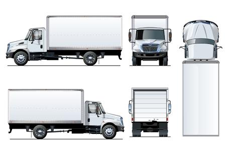 Modèle de camion de vecteur isolé sur blanc. Avec des effets de transparence pour repeindre en un clic et un masque d'écrêtage pour la marque
