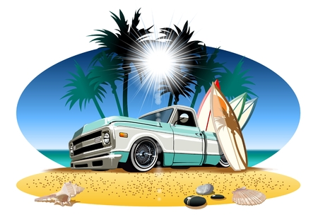 Vector cartoon retro camper pickup. Available  vector format separated by groups and layers for easy edit Ilustracja