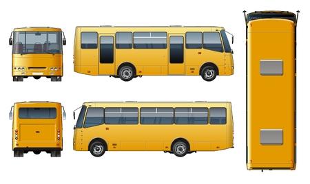 Vector realistic urban passenger mini-bus mock-up for brand identity, isolated on white. Illustration