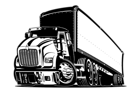 Cartoon semi-truck illustration on white background. 矢量图像