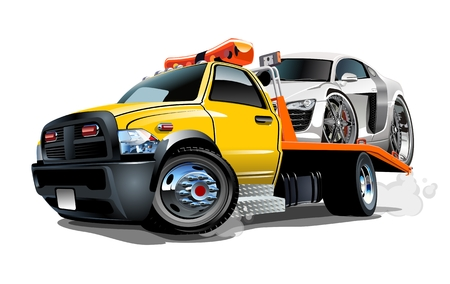 Cartoon tow truck isolated on white background. Available vector format separated by groups and layers for easy edit Vettoriali