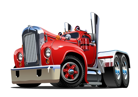 Cartoon retro semi truck isolated on white background. Available EPS-10 vector format separated by groups and layers for easy edit 일러스트