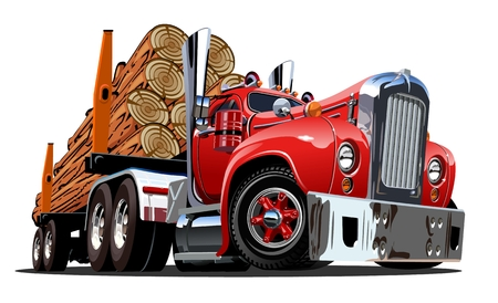 Cartoon retro logging truck isolated on white background. Available EPS-10 vector format separated by groups and layers for easy edit Çizim