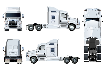 Vector semi-truck template isolated on white. Side, front, back, top view. EPS-10 separated by groups and layers for easy edit