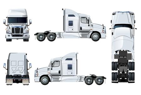 Vector semi-vrachtwagen sjabloon geïsoleerd op wit. Zij-, voorkant, achterkant, bovenaanzicht. EPS-10 gescheiden door groepen en lagen voor eenvoudige bewerking