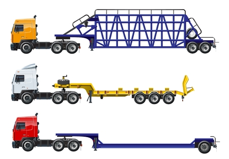 Vector semi trucks set isolated on white. Available EPS-10 separated by groups and layers with transparency effects Illustration