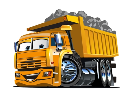 Vector Cartoon Dump Truck.