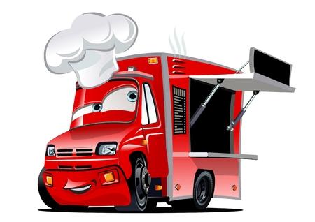 Camión de comida de dibujos animados aislado sobre fondo blanco.