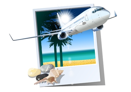 Commercial passengers airplane. Stock Illustratie