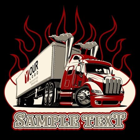 Wektor szablon ciężarówka semi kreskówka na białym tle na czarnym tle. Dostępny format wektorowy EPS-8 oddzielony grupami i warstwami dla łatwej edycji