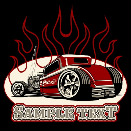 Cartoon retro hot rod isolated on black background