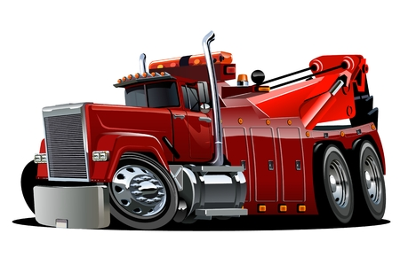 Cartoon bigr rig tow truck isolated on white background. Available EPS-10 vector format separated by groups and layers for easy edit