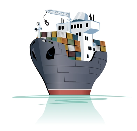 Vector cartoon cargo ship. Available EPS-10 separated by groups and layers
