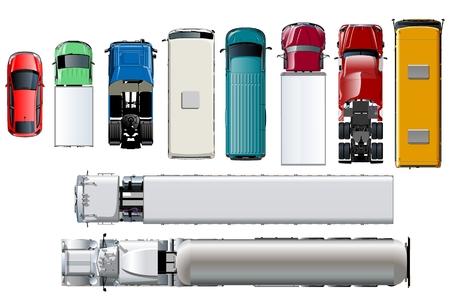 Vista superior del transporte de vectores. Vehículos realistas aislados en fondo blanco. EPS-10 disponible separados por grupos y capas con efectos de transparencia para repintar con un solo clic.