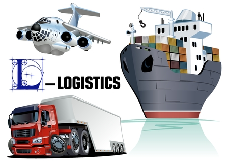 Vector set of cartoon cargo transport. Available EPS-10 vector format sparated by groups and layers for easy edit Standard-Bild - 102969628