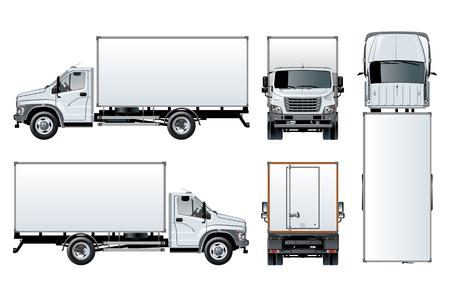 Szablon wektor ciężarówka na białym tle dla marki samochodu i reklamy. Dostępny EPS-10 oddzielony grupami i warstwami z efektami przezroczystości do ponownego malowania jednym kliknięciem. Ilustracje wektorowe