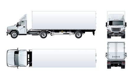 Vector Semi Truck Vorlage lokalisiert auf Weiß für Auto-Branding und Werbung. Verfügbares EPS-10, getrennt durch Gruppen und Ebenen mit Transparenzeffekten für ein Repaint mit einem Klick. Vektorgrafik