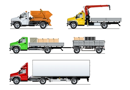Vector spec trucks set isolated on white. Available EPS-10 separated by groups and layers with transparency effects Standard-Bild - 106955543