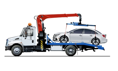 Vector tow truck template isolated on white. Available EPS-10 separated by groups and layers for easy edit Illustration