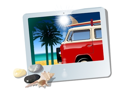 Vector tablet with camper. Available eps-10 vector format separated by groups with transparency effects for one-click repaint Standard-Bild - 105221895
