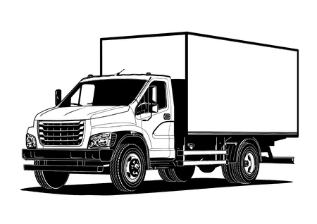 Vector truck outline template isolated on white. Available EPS-8 separated by groups and layers for easy edit. Standard-Bild - 105222570