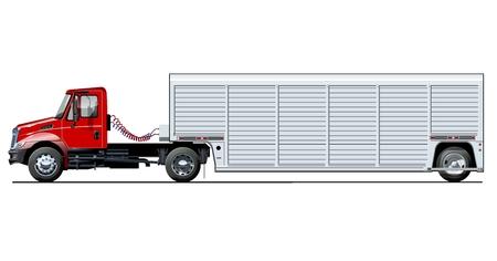 Modello di camion di vettore isolato su bianco. Disponibile EPS-10 separato da gruppi e livelli con effetti di trasparenza per ridipingere con un clic Vettoriali