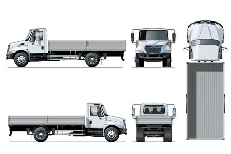 Vector flatbed vrachtwagen sjabloon geïsoleerd op wit voor auto branding en reclame. Beschikbare EPS-10 gescheiden door groepen en lagen met transparantie-effecten voor herschilderen met één klik.