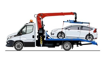 Modello di carro attrezzi di vettore isolato su bianco. Disponibile EPS-10 separato da gruppi e livelli per una facile modifica