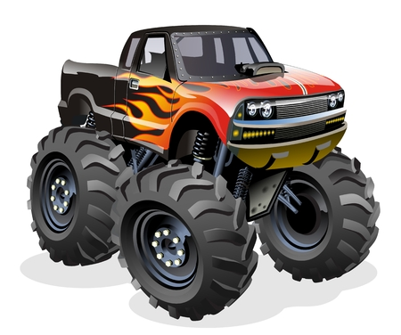 Cartoon Monster Truck. Available EPS-10 separated by groups and layers with transparency effects for one-click repaint.