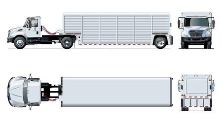 Modello di camion semi di vettore isolato su bianco per auto branding e pubblicità. Disponibile EPS-10 separato da gruppi e livelli con effetti di trasparenza per ridipingere con un clic. Vettoriali
