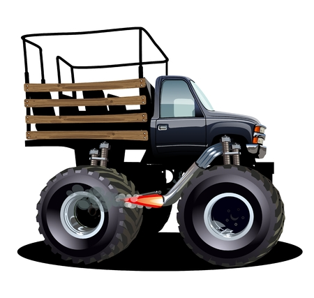 Cartoon Monster Truck. Available EPS-10 separated by groups and layers with transparency effects for one-click repaint Standard-Bild - 109838325